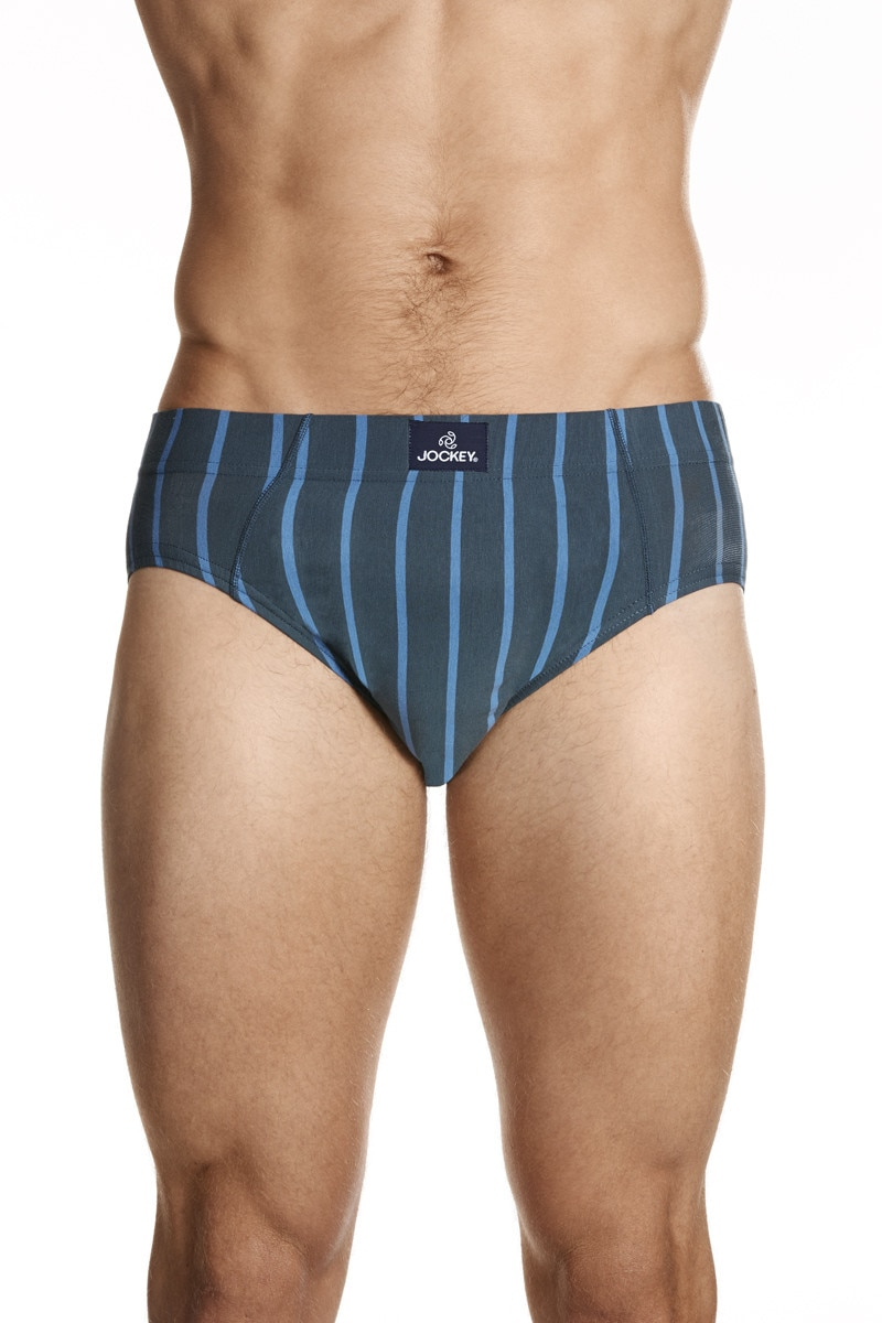 Jockey Sports Stripe Brief Granite Stripe